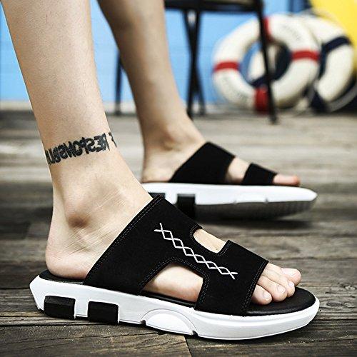 marea che uomini e antiscivolo 43 Moda da spiaggia estivo fankou trascinare estate svago fondo e morbido a bianco nero pantofole scarpe sandali xaqY0R