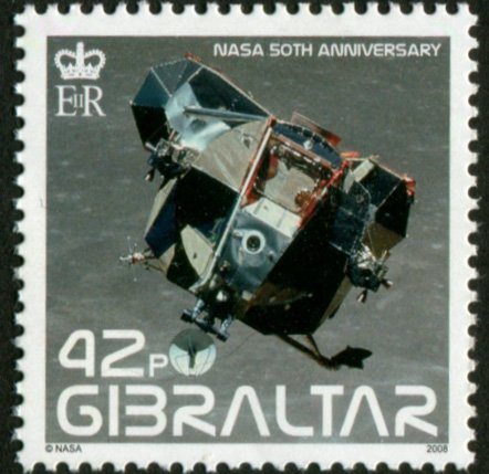 LUNAR MODULE LEAVING THE MOON * APOLLO 11 MISSION * (This is hard to find postage stamp from Gibraltar)