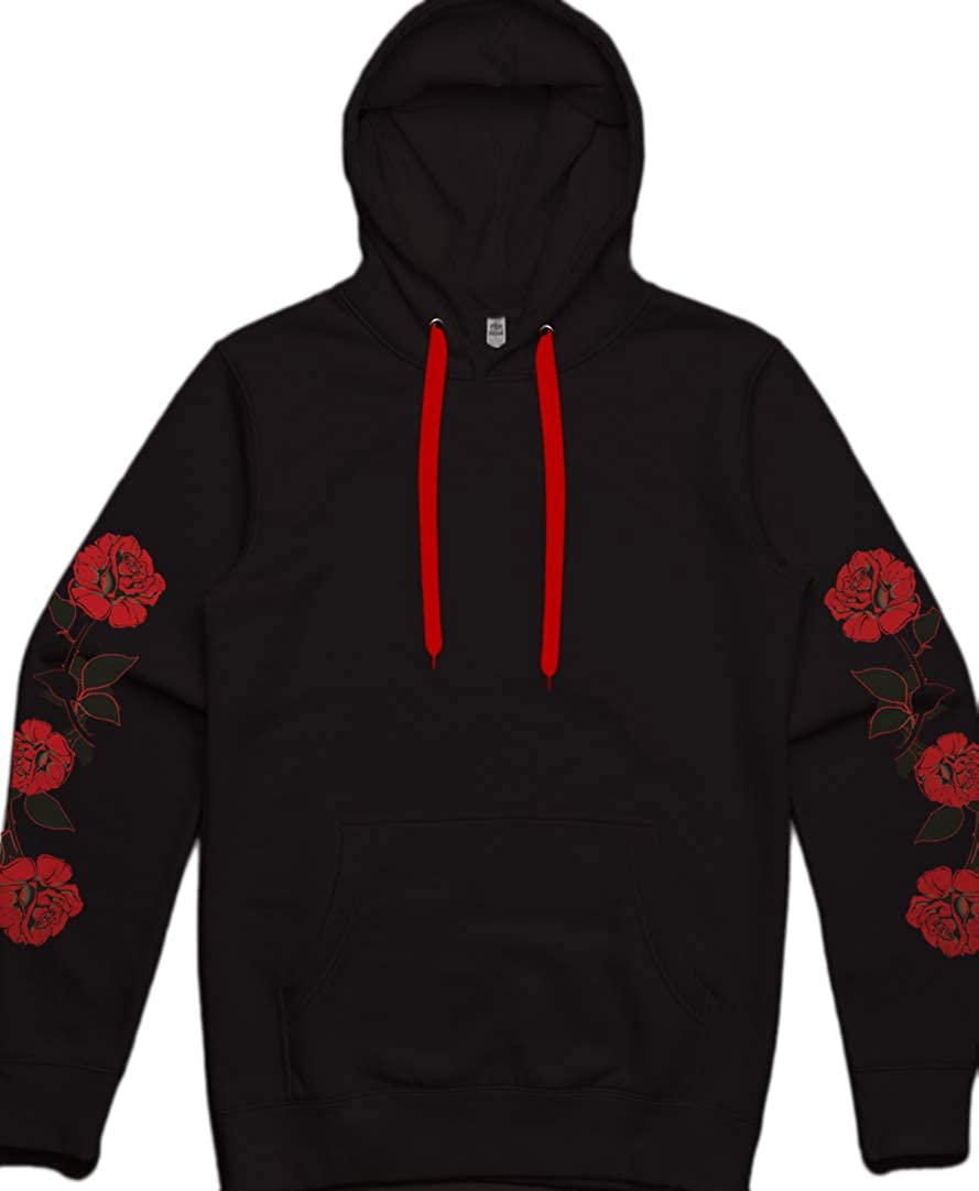 newest 5b319 04e9c Amazon.com: Mens Black Red Roses Pullover Hoodie Flower ...