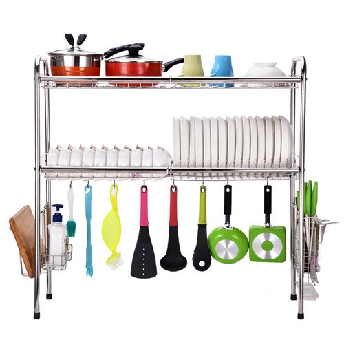 Storage Sink (2-Tier SUS304 Stainless Steel Adjustable Dish Drying Rack Utensil Holder,Over the Sink Kitchen Storage Shelf (Double Groove) …)