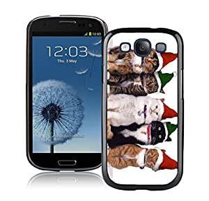 Design for Mass Customization Green Red Christmas Hat Cats Black TPU Phone Case For Samsung Galaxy S3,Samsung I9300 Cases by icecream design