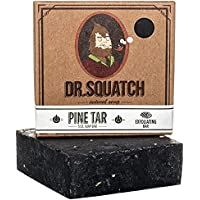 Dr. Squatch Pine Tar Soap – Mens Soap with Natural Woodsy Scent and Skin Scrub Exfoliation – Black Soap Bar Handmade…