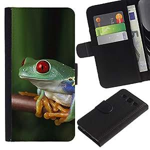 KingStore / Leather Etui en cuir / Samsung Galaxy S3 III I9300 / Rana Selva Tropical Naturaleza Verde