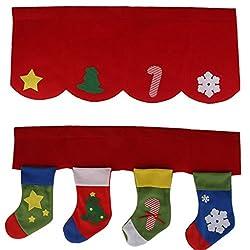 2pcs Christmas Stockings Door Window Curtain Pennant Bunting Valance