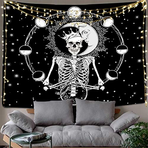 Halloween Decoration Art (Hexagram Hippie Skull Tapestries Bohemian Wall Tapestry Bohemian Moon Sun Tapestry Wall Hanging Trippy Tapestry Psychedelic Tarot Card Tapestry Black and White Wall Art for Room Halloween)