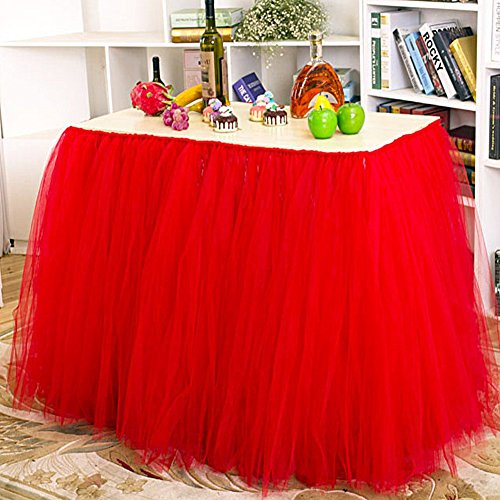 AerWo Red Tutu Table Skirts, 30 by 39 inch, Baby Shower P...