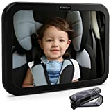 Image of Premium Baby Mirror by FORTEM - Car Rear View Backseat Mirror For Babies and Toddlers in Baby Car Seats - Wide Angle w/ Shatterproof Glass - CRASH TESTED for SAFETY - Bonus Visor Clip