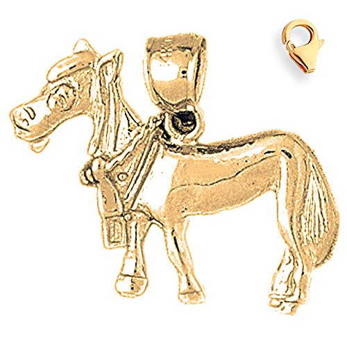 - Jewels Obsession Donkey Charm | 14K Yellow Gold Donkey Charm Pendant - 21mm