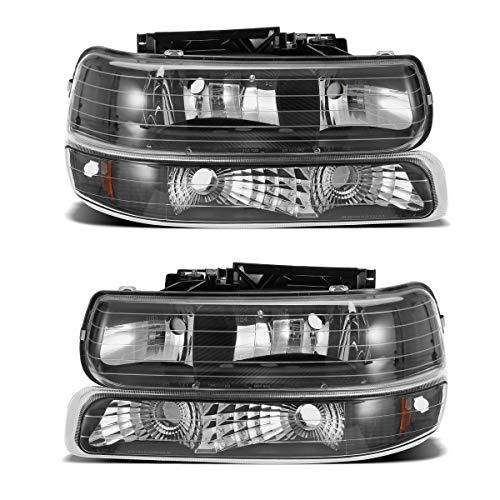 Partsam Headlight Assembly for Chevrolet 99 00 01 02 Silverado 1500 2500, 01 02 Chevrolet Silverado 1500HD 2500HD 3500HD, 00 01 02 03 04 05 06 Tahoe Suburban Driver and Passenger Side w/Bumper Lights