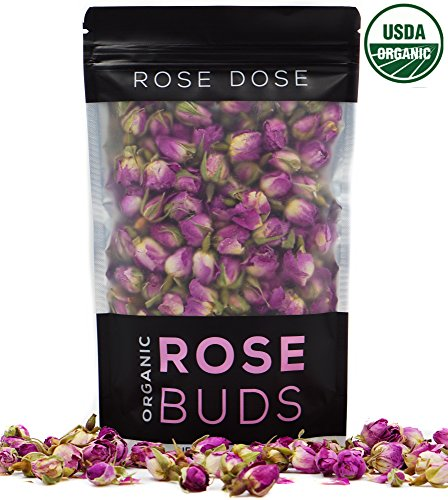 Dried Rosebuds (Rose Dose, USDA Organic Rose Bud Tea (2 oz) Culinary Grade (Infusions, Baking, Teas, Crafts))