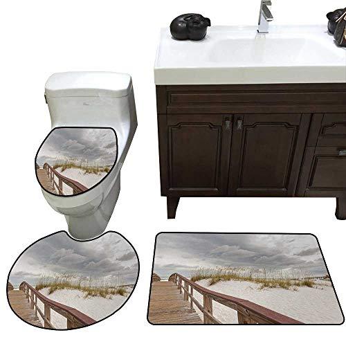 John Taylor Beach Bath Toilet mat Set Footpath Through Sand Tropic Gulf Island National Seashore Florida Plants Landscape Toilet Rug and mat Set Grey Cream (State Florida Seminoles Landscape)