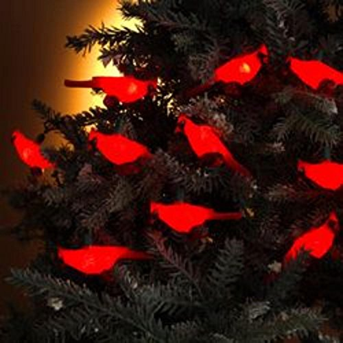 KSA Set of 10 Festive Red Cardinal Bird Novelty Christmas Lights - Green Wire
