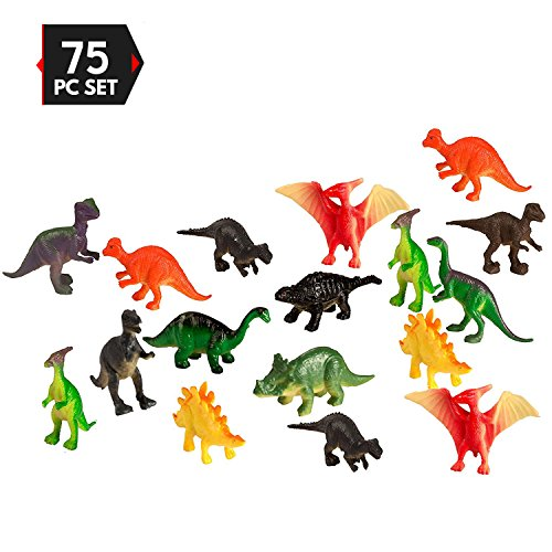 Plastic Figure Pack - Big Mo's Toys 75 Piece Party Pack Mini Dinosaurs - Plastic Mini Educational Dinosaur Animal Toys - Fun Gift Party Giveaway