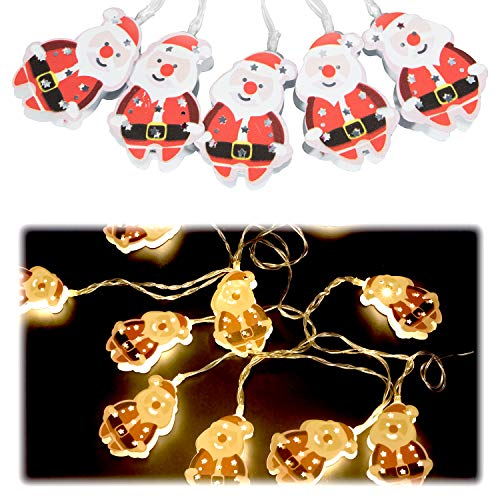 Hensun LED String Lights Santa Claus, 6.6feet 10 LED Warm White Christmas Light for Indoor,Bedroom,Curtain,Patio,Lawn,Landscape,Fairy Garden,Home,Wedding,Holiday,Christmas Tree,Party
