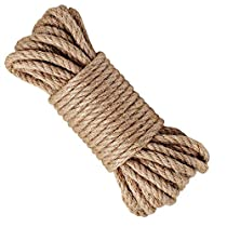 100% Natural Hemp Ropes - Hautton 6mm Thickness and Strong Jute Rope,Camping Rope,Multi Purpose Utility Sisal Rop,10m(32ft)-40m(128ft)