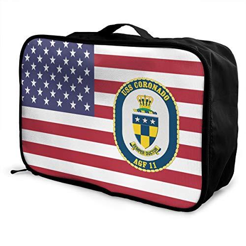 (Navy USS Coronado AGF-11 Travel Lightweight Waterproof Foldable Storage Carry Luggage Duffle Tote Bag)