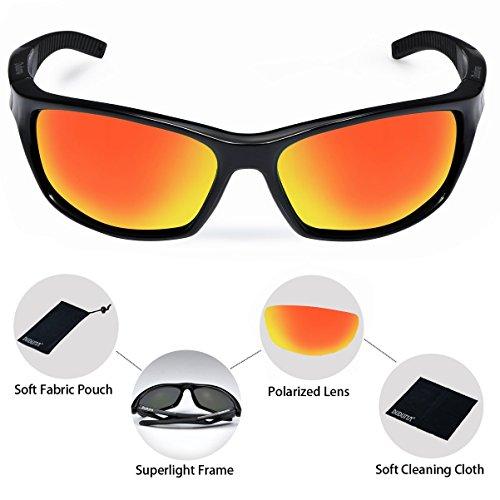 Duduma Polarized Sport Mens Sunglasses for Baseball Fishing Golf Running Cycling with Fashion Women Sunglasses and Men Sunglasses Tr80821 Flexible Superlight Frame (Frame black, Red mirror lens)