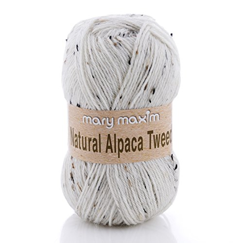 "Mary Maxim Natural Alpaca Tweed Yarn ""Raw Cotton"" | 4 Medium Worsted Weight Yarn for Knit & Crochet Projects | 77% Acrylic, 20% Alpaca, 3% Viscose| 4 Ply - 262 -"