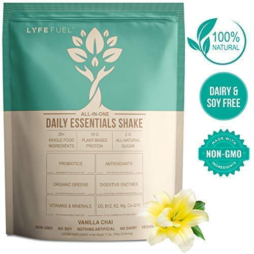 LYFE Fuel Meal Replacement Shakes - Keto, Vegan, Low Carb - Plant Protein & Superfoods for Weight Loss - 18g Complete Protein Pea & Rice, Organic Greens & Essential Vitamins (Vanilla Chai - 24 Meals)