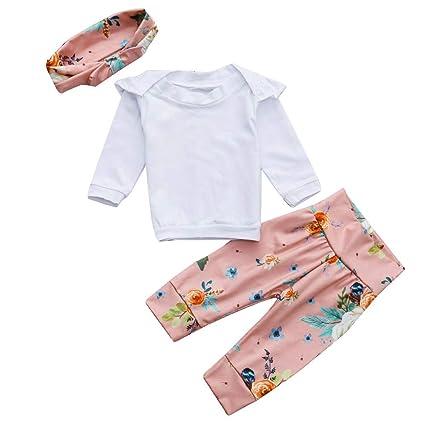 LILICAT❋ Bebés recién Nacidos Mameluco con Pliegues + Pantalón con Estampado Floral Conjuntos Conjuntos Mangas