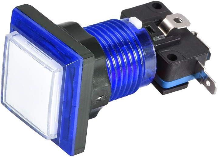sourcing map Jeu Bouton Poussoir 34x34 Carr/é 12V LED Illumin/é Bouton Poussoir Interrupteur avec Micro Interrupteur pour Arcade Vid/éo Bleu 2Pcs