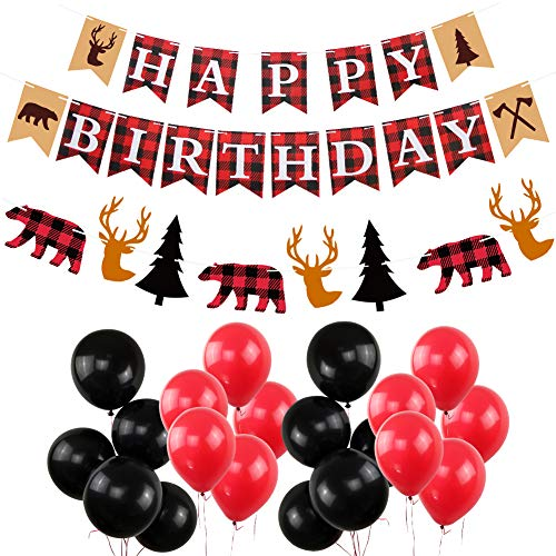 (Lumberjack Happy Birthday Party Decorations, New Year Birthday Banners Woodland Themed Timber Buffalo Plaid Garland Hanging Black and Red Balloons Birthday Winter)