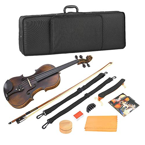 Wandisy Retro Vintage 4/4 Violin Set, Wood Acoustic Violin with String Mute Rosin Musical Instrument Accessories