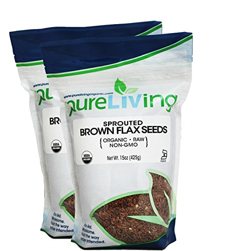 (Pure Living Sprouted Brown Flax Seeds, 2 Packs -15 Ounce each)
