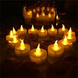 Horeset (Lot of 100) Battery-Operated Amber Yellow Flameless LED Tea Light Candles (Batteries Included) for New Year Christmas
