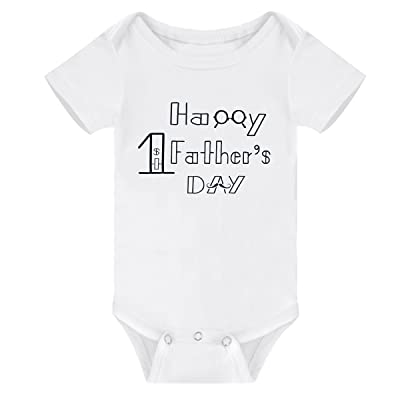 8ccfa9ba0 Winzik Newborn Baby Boys Girls Outfits Happy 1st Father's Day Letters Print  Funny Onesie Romper Jumpsuit Clothes T-Shirt (0-3 Months, White)