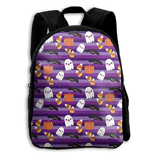 Toddler Kids School Bag Teens Double Shoulder Print Backpacks Halloween Cat And Ghost Wallpaper Travel Gear Daypack (Halloween Day Wallpaper)