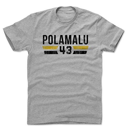 (500 LEVEL Troy Polamalu Cotton Shirt (Large, Heather Gray) - Pittsburgh Steelers Men's Apparel - Troy Polamalu Font K)