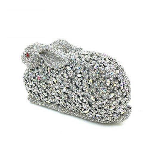 Las Mujeres Embrague Monederos Pedrería De Cristal La Tarde Del Embrague Bolsas De Conejo White