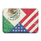 AERYUHPP Bath Mat Bathroom Rug With Non-slip Rubber Outdoor Mat - Mexican American Flag