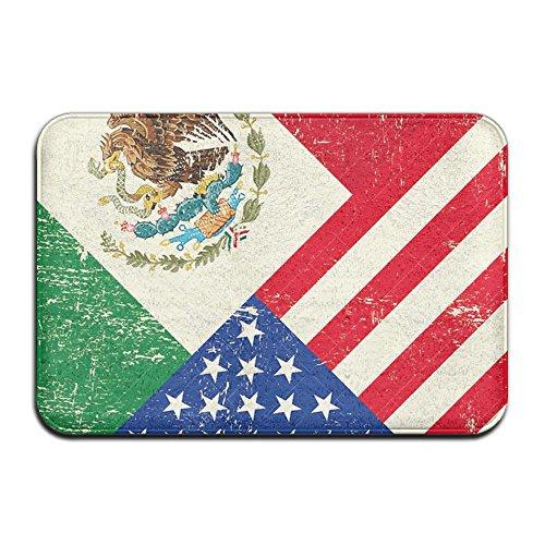 AERYUHPP Bath Mat Bathroom Rug With Non-slip Rubber Outdoor Mat - Mexican American Flag by AERYUHPP
