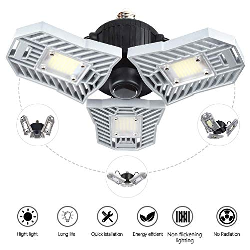 Led Garage Lights,Deformable Lamp, Ceiling lights Fixture,Led Light Bulbs 60w,6000 lumens,Shop Lights For Garage,Work Light (NO Motion Activated)