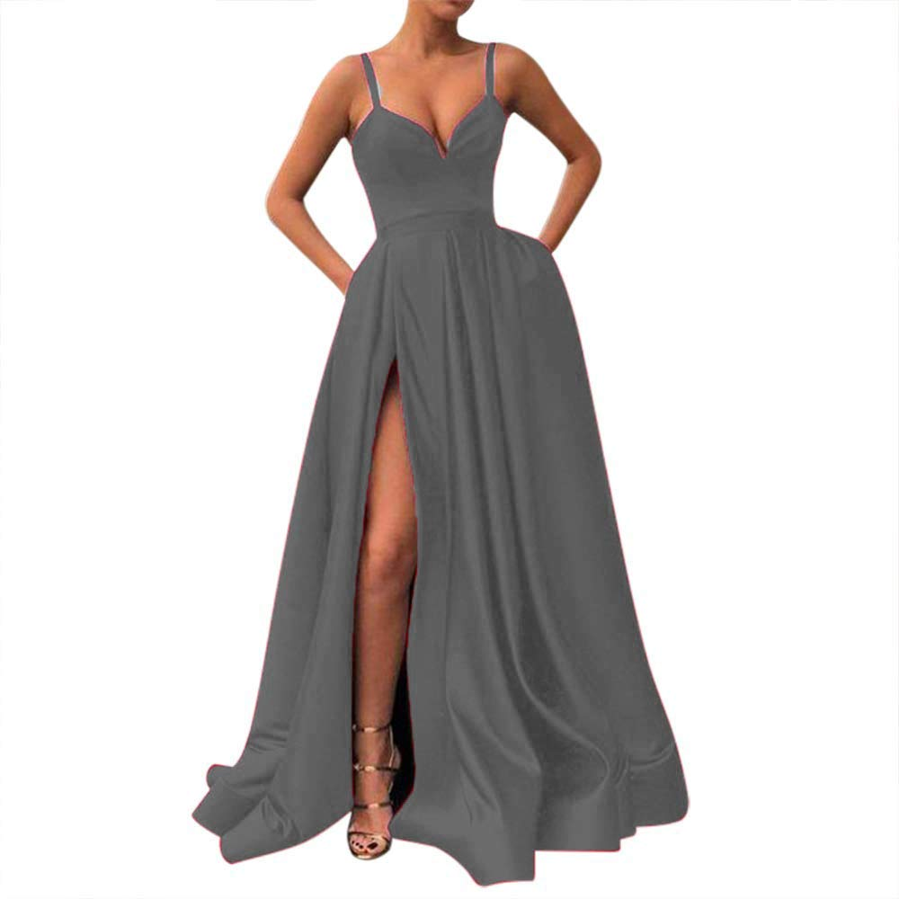 Fanciest Womens Spaghetti Straps Slit Satin Prom Evening Dresses with Pockets