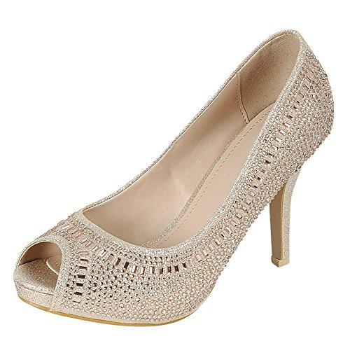 Cambridge Select Women's Peep Toe Crystal Rhinestone Beaded Stiletto High Heel Dress Pump (7 B(M) US, Champagne)