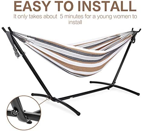 PNAEUT Double Hammock with Space Saving Steel Stand Garden Outdoor Indoor (Desert Moon with Charcoal Frame)