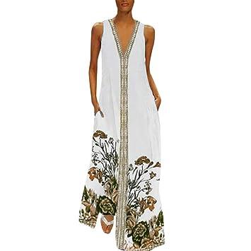 fe4417804 Vestidos Largos Verano Mujer ღSUNNSEANღ Traje de Vestir Estampado ...