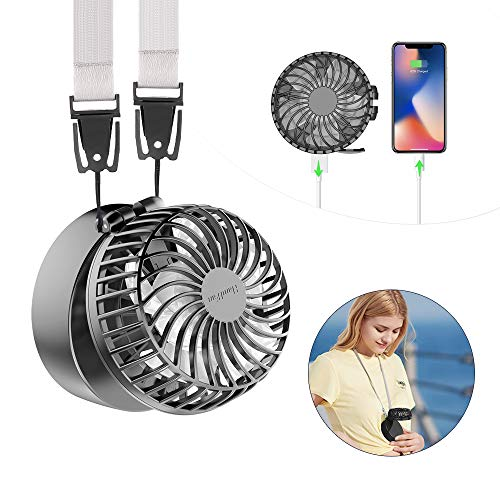 HandFan Battery Operated Necklace Fan with 2600mAh Power Bank & Built-in Make-up Mirror Portable Hands-free Neck Fan 180° Foldable 3 Settings Rechargeable Personal Fan for Travel Outdoor Office(Black