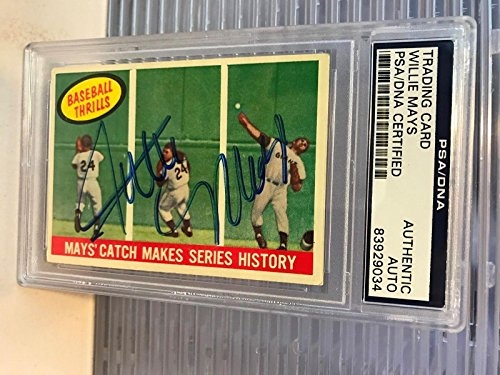 (The Finest 1959 Topps Willie Mays ' The Catch' Signed Baseball Card COA - PSA/DNA Certified - Baseball Slabbed Autographed Cards)