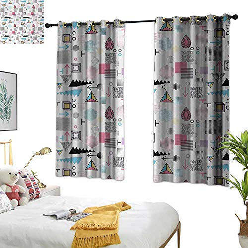 RuppertTextile Abstract Insulated Sunshade Curtain Geometric Composition in Memphis Style Cubes Hexagons Triangles and Arrows Modern 63