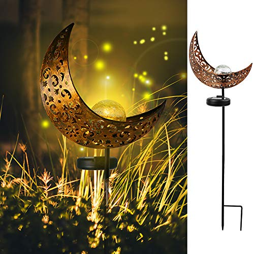 ZALALOVA Garden Solar Light Outdoor, Moon Decor, Crackle Glass Ball Metal Garden Stake Light for Pathway, Lawn, Patio, Yard