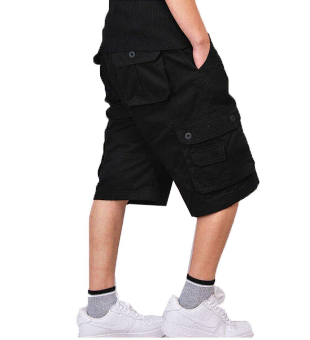 Crazy Men's Survivor Outdoor MILITARY Cotton Cargo Short Pants-black-36