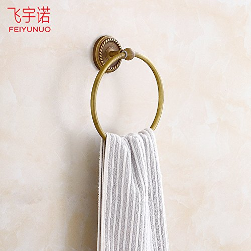 LHbox Tap Round Towel Rack Wear A Towel Bar Antique-Brass Bracket Round Towel Ring Towel Rack Mount, Rose Gold - Rose Gold