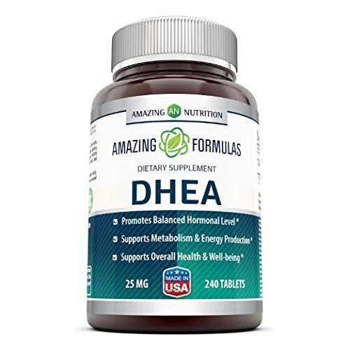 Amazing Formulas DHEA Dietary Supplement - 25 mg Pure - 240 Tablets Per Bottle - Promotes Balanced Hormonal Levels - Supports Metabolism & Energy Production, Balanced Hormonal Levels by Amazing Nutrition
