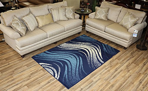 Collection Area Rugs Contemporary Wave - Modela Collection Waves Design Contemporary Modern Area Rug Rugs (Navy Blue, 4'9
