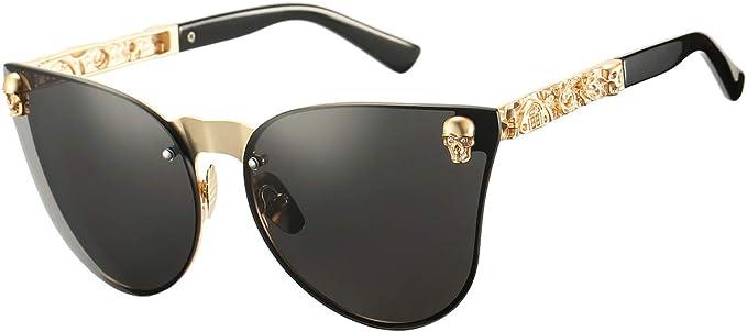 DeBuff Cat Eye Steampunk Sunglasses Rimless Skull Design Goggles for Women