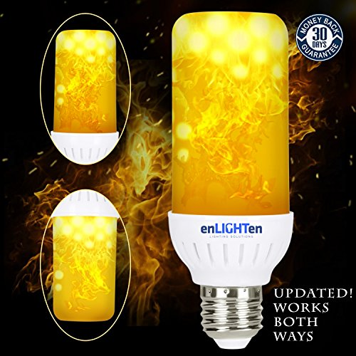 LED Flame Effect Light Bulb {} Downward and Upward Fire Flickering Simulation Indoor Outdoor Lightbulb Standard E26 Socket, Cool Interior Exterior, Holiday, Home Décor (2 Pack)